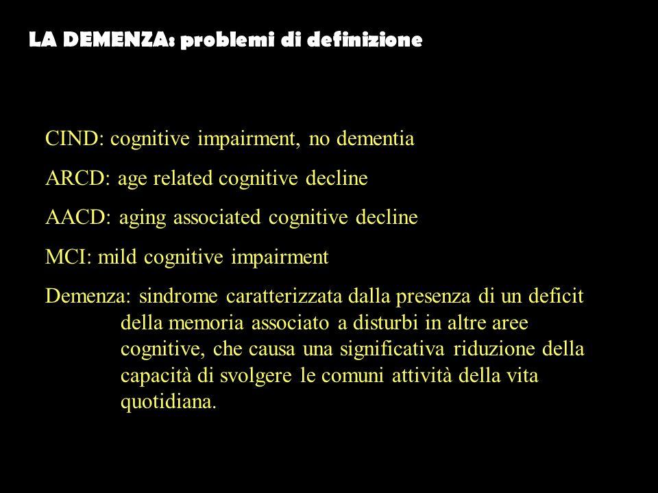 LA DEMENZA: problemi di definizione CIND: cognitive impairment, no dementia ARCD: age related cognitive decline AACD: aging associated cognitive decline MCI: mild cognitive impairment Demenza: sindrome caratterizzata dalla presenza di un deficit della memoria associato a disturbi in altre aree cognitive, che causa una significativa riduzione della capacità di svolgere le comuni attività della vita quotidiana.
