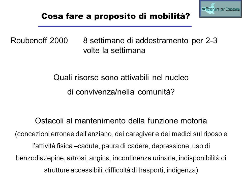 Cosa fare a proposito di mobilità? Roubenoff 2000 8 settimane di addestramento per 2-3 volte la settimana Quali risorse sono attivabili nel nucleo di