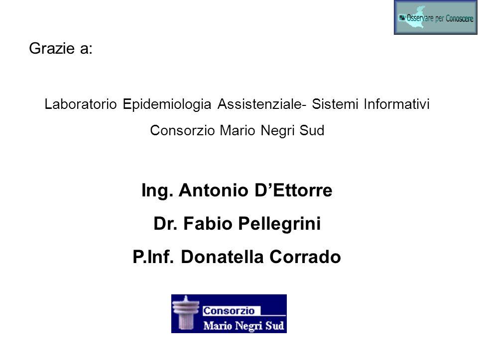 Grazie a: Laboratorio Epidemiologia Assistenziale- Sistemi Informativi Consorzio Mario Negri Sud Ing. Antonio DEttorre Dr. Fabio Pellegrini P.Inf. Don