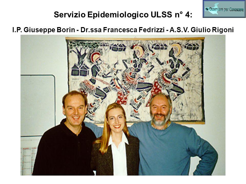 Servizio Epidemiologico ULSS n° 4: I.P. Giuseppe Borin - Dr.ssa Francesca Fedrizzi - A.S.V. Giulio Rigoni