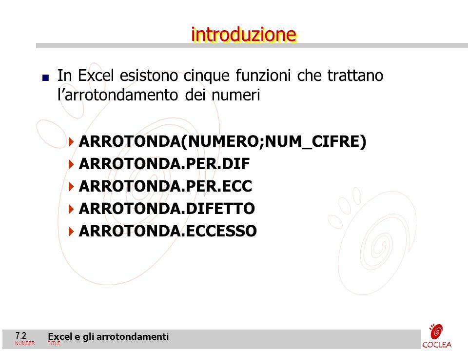 7.2 Excel e gli arrotondamenti NUMBERTITLE introduzioneintroduzione In Excel esistono cinque funzioni che trattano larrotondamento dei numeri ARROTOND