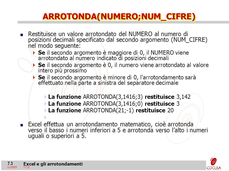 7.3 Excel e gli arrotondamenti NUMBERTITLE ARROTONDA(NUMERO;NUM_CIFRE)ARROTONDA(NUMERO;NUM_CIFRE) Restituisce un valore arrotondato del NUMERO al nume