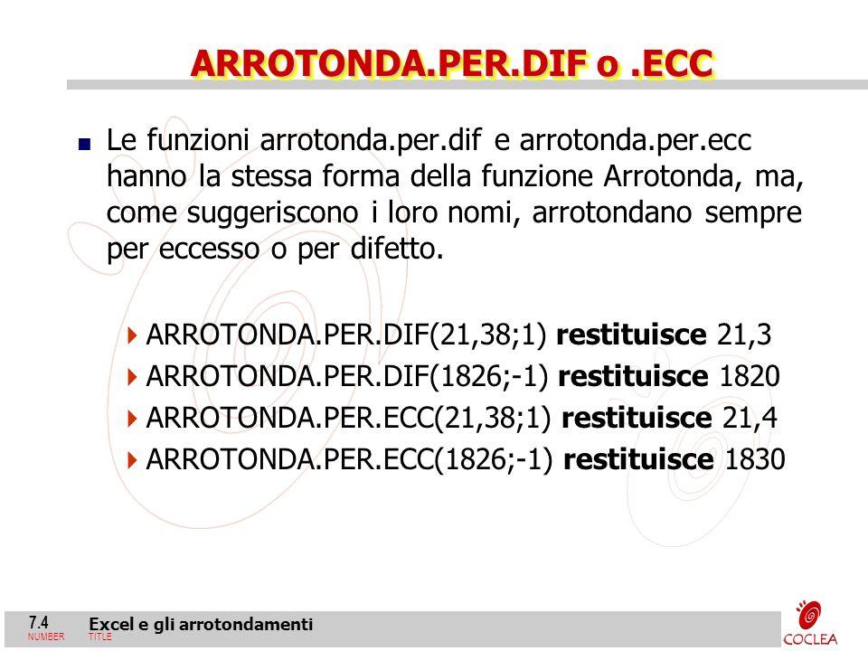 7.4 Excel e gli arrotondamenti NUMBERTITLE ARROTONDA.PER.DIF o.ECC Le funzioni arrotonda.per.dif e arrotonda.per.ecc hanno la stessa forma della funzi