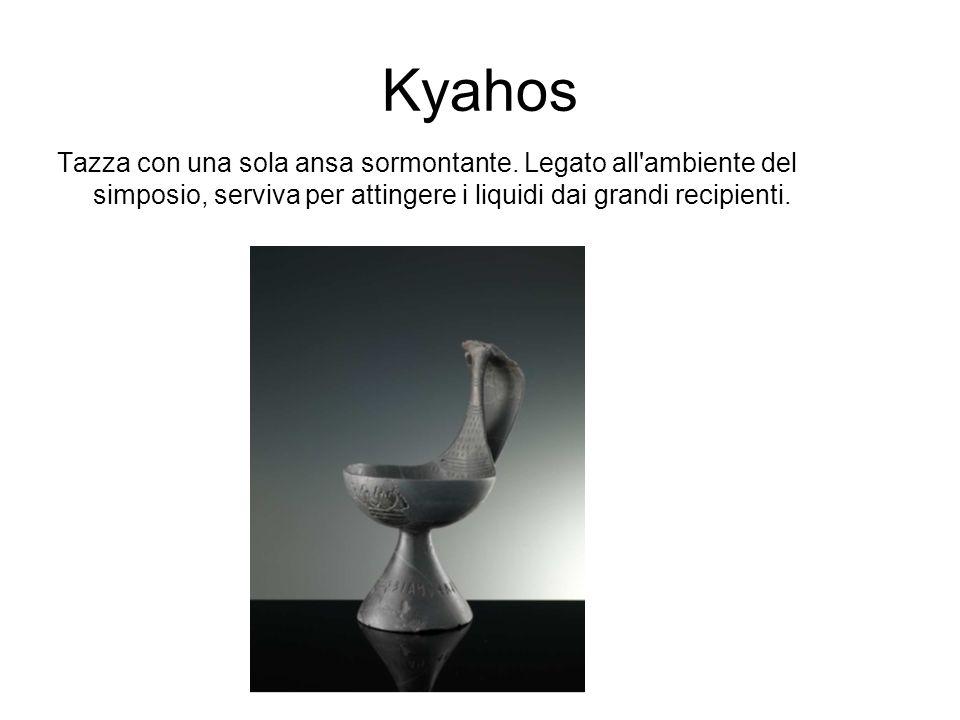 Kyahos Tazza con una sola ansa sormontante. Legato all'ambiente del simposio, serviva per attingere i liquidi dai grandi recipienti.