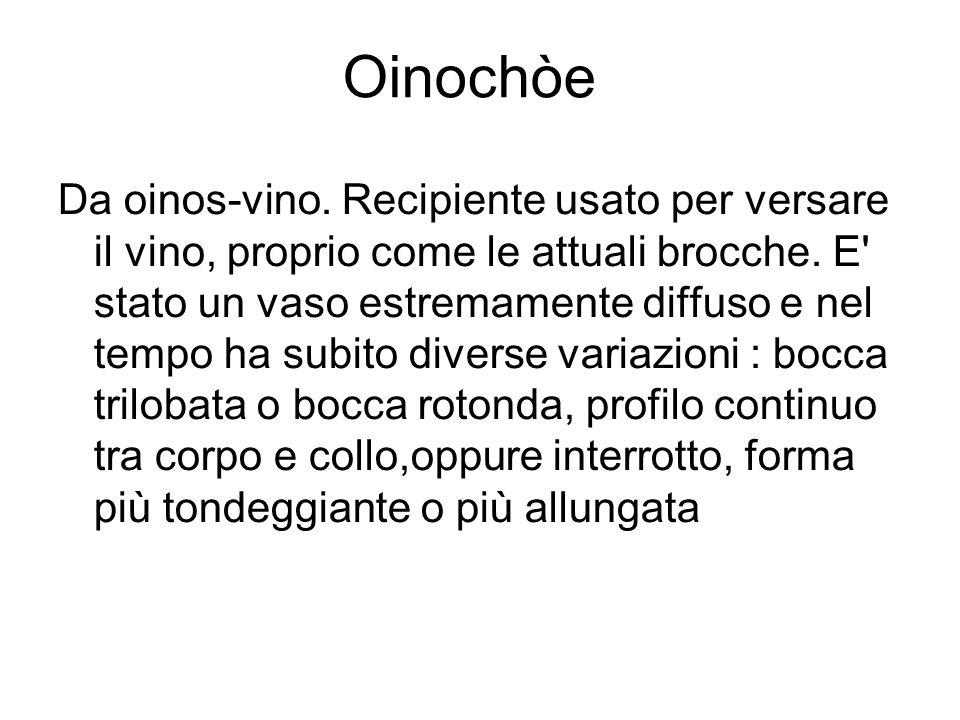 Oinochòe Da oinos-vino. Recipiente usato per versare il vino, proprio come le attuali brocche. E' stato un vaso estremamente diffuso e nel tempo ha su