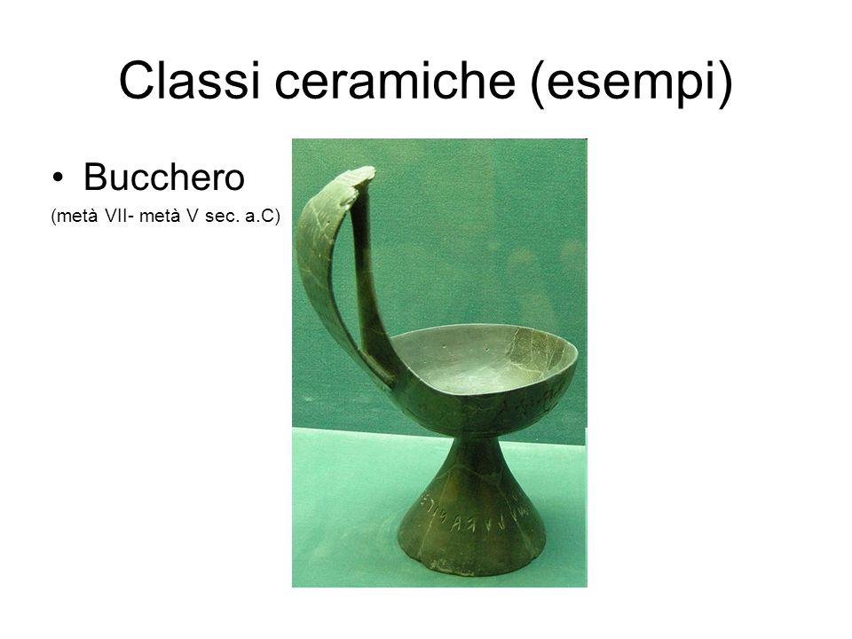 Classi ceramiche (esempi) Bucchero (metà VII- metà V sec. a.C)