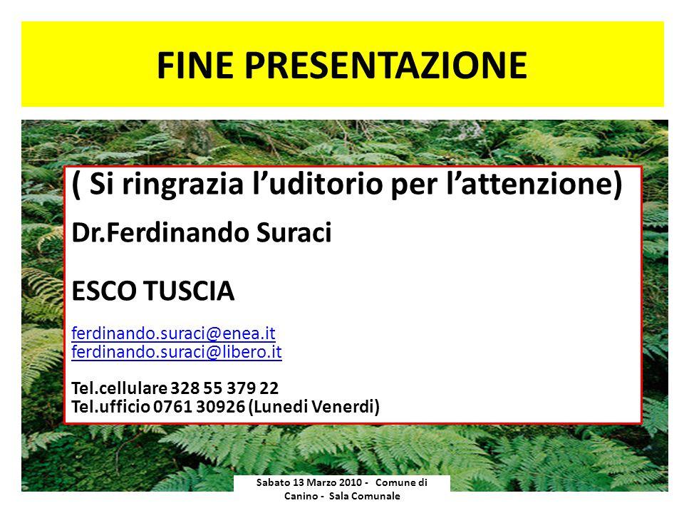 FINE PRESENTAZIONE Sabato 13 Marzo 2010 - Comune di Canino - Sala Comunale ( Si ringrazia luditorio per lattenzione) Dr.Ferdinando Suraci ESCO TUSCIA
