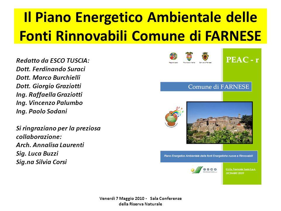 Il Piano Energetico Ambientale delle Fonti Rinnovabili Comune di FARNESE Venerdi 7 Maggio 2010 - Sala Conferenze della Riserva Naturale Redatto da ESCO TUSCIA: Dott.