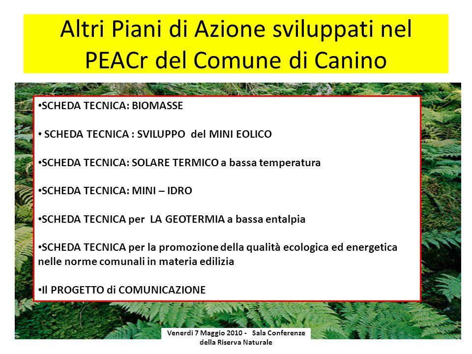 Altri Piani di Azione sviluppati nel PEACr del Comune di Canino Venerdi 7 Maggio 2010 - Sala Conferenze della Riserva Naturale SCHEDA TECNICA: BIOMASS