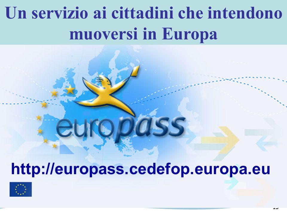 13 Un servizio ai cittadini che intendono muoversi in Europa http://europass.cedefop.europa.eu