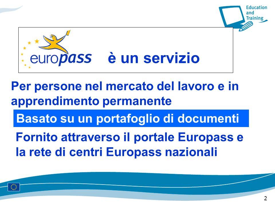 2 è un servizio Per persone nel mercato del lavoro e in apprendimento permanente Basato su un portafoglio di documenti Fornito attraverso il portale Europass e la rete di centri Europass nazionali