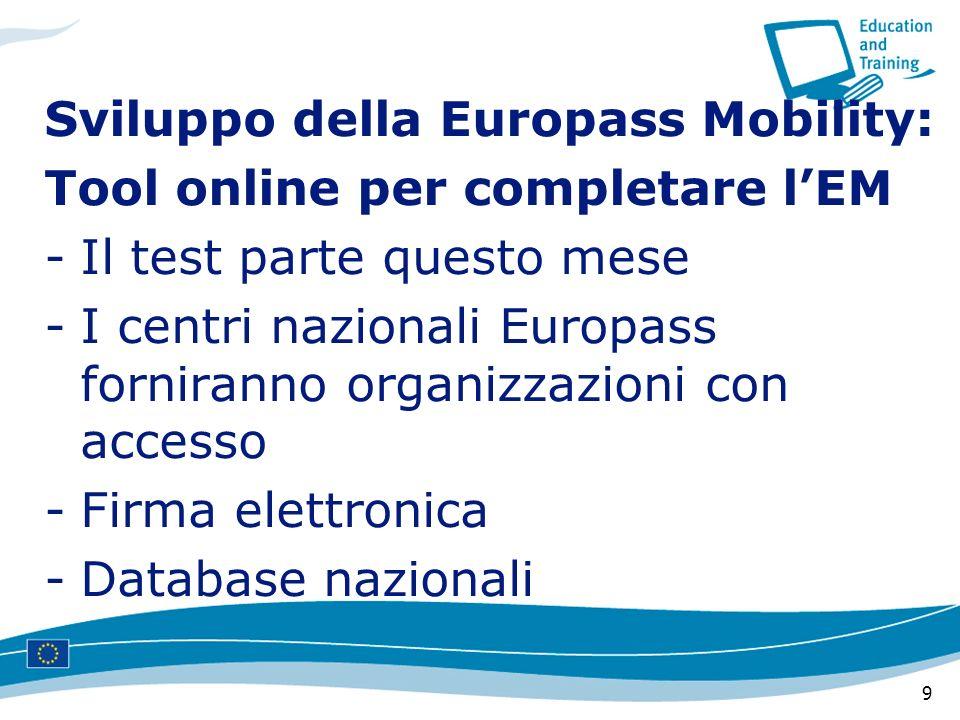 9 Sviluppo della Europass Mobility: Tool online per completare lEM -Il test parte questo mese -I centri nazionali Europass forniranno organizzazioni c