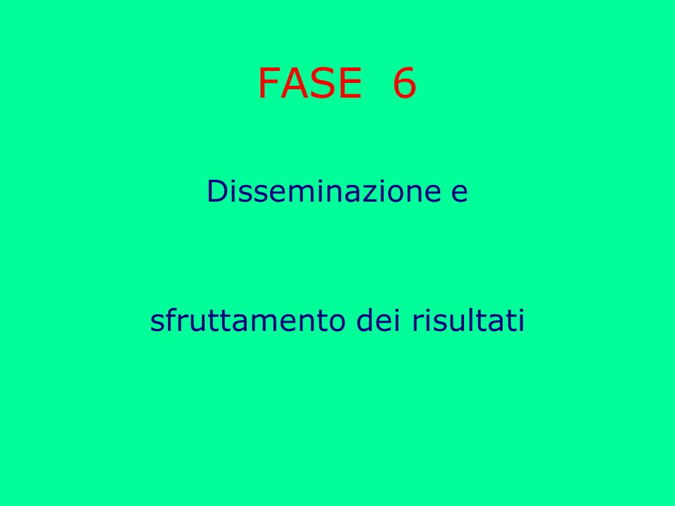 FASE 6 Disseminazione e sfruttamento dei risultati