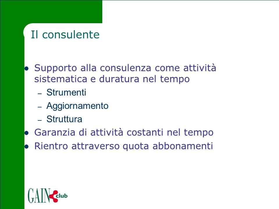 Il consulente Supporto alla consulenza come attività sistematica e duratura nel tempo – Strumenti – Aggiornamento – Struttura Garanzia di attività cos