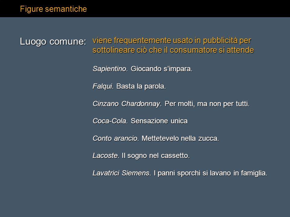 Figure semantiche viene frequentemente usato in pubblicità per sottolineare ciò che il consumatore si attende Sapientino. Giocando simpara. Falqui. Ba