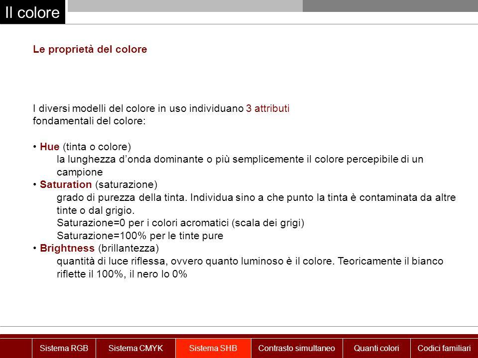 Il colore Le proprietà del colore I diversi modelli del colore in uso individuano 3 attributi fondamentali del colore: Hue (tinta o colore) la lunghez
