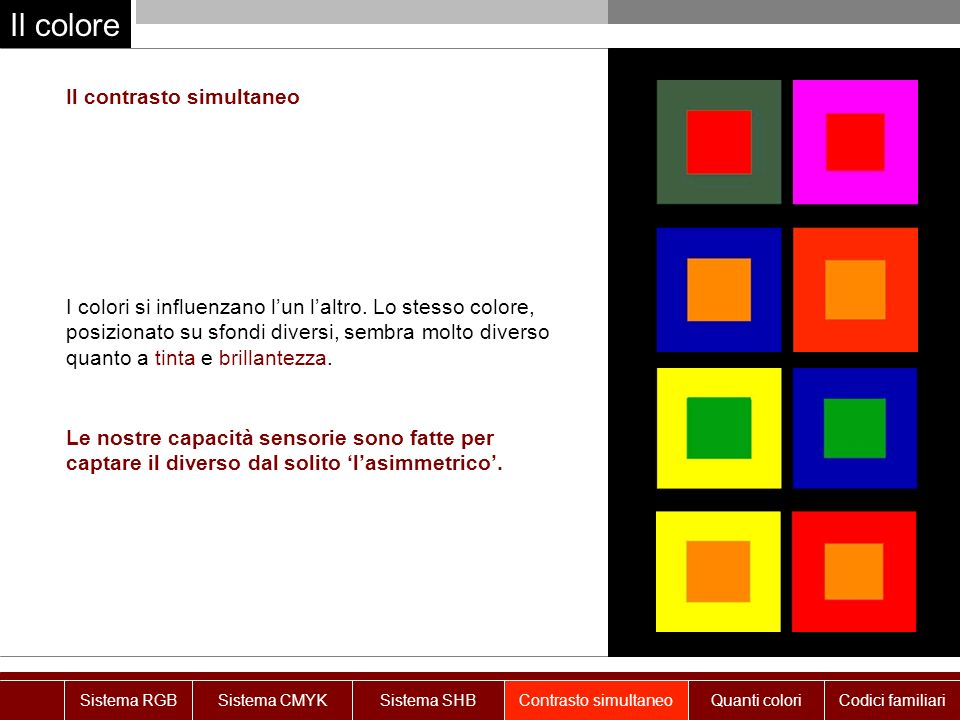 Il colore Le nostre capacità sensorie sono fatte per captare il diverso dal solito lasimmetrico.