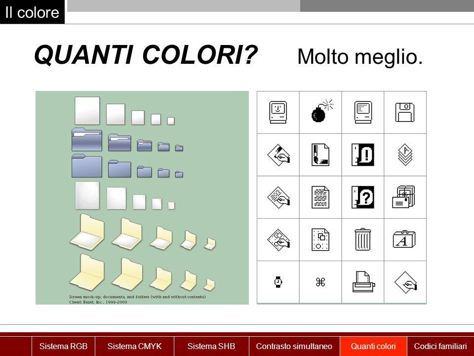 Il colore QUANTI COLORI? Molto meglio. Sistema RGBSistema CMYKSistema SHBContrasto simultaneoQuanti coloriCodici familiari