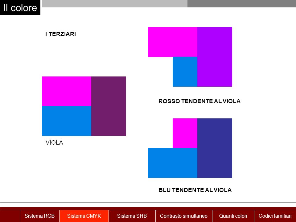 Il colore I TERZIARI VIOLA ROSSO TENDENTE AL VIOLA BLU TENDENTE AL VIOLA Sistema RGBSistema CMYKSistema SHBContrasto simultaneoQuanti coloriCodici fam