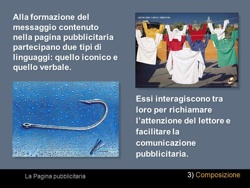 Alla formazione del messaggio contenuto nella pagina pubblicitaria partecipano due tipi di linguaggi: quello iconico e quello verbale. Essi interagisc