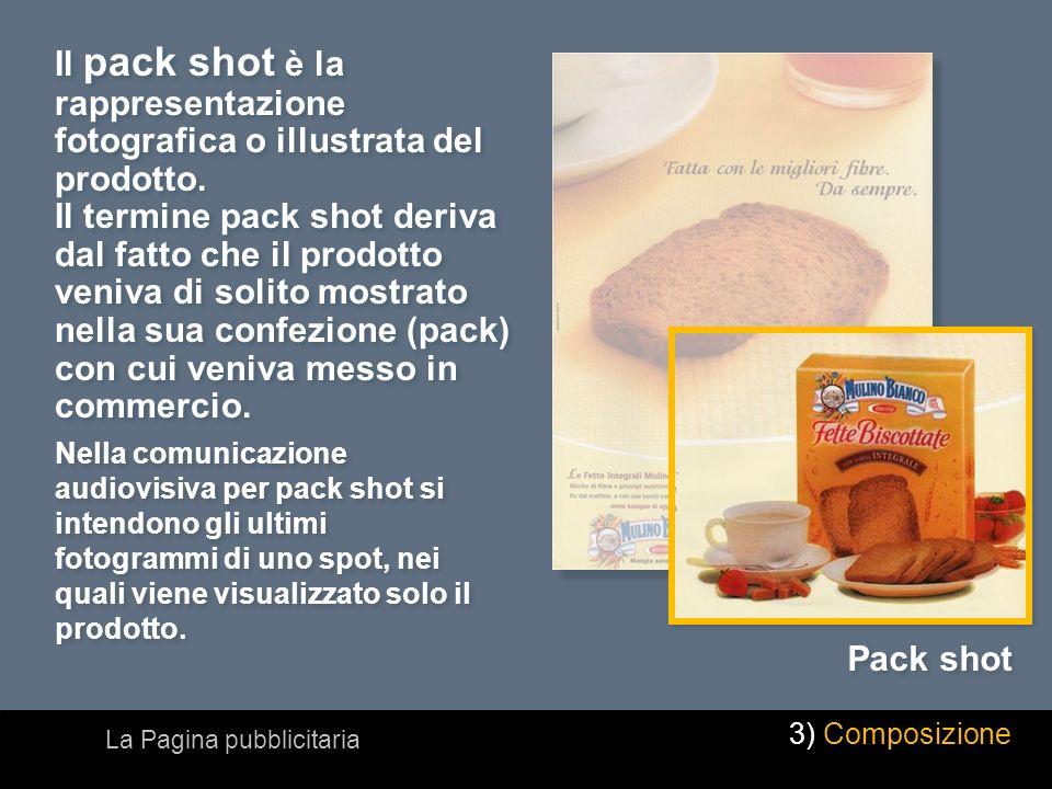 Il pack shot è la rappresentazione fotografica o illustrata del prodotto. Il termine pack shot deriva dal fatto che il prodotto veniva di solito mostr