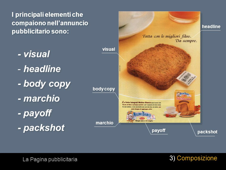 I principali elementi che compaiono nellannuncio pubblicitario sono: visual headline marchio body copy payoff packshot - visual - headline - body copy - marchio - payoff - packshot - visual - headline - body copy - marchio - payoff - packshot La Pagina pubblicitaria 3) Composizione