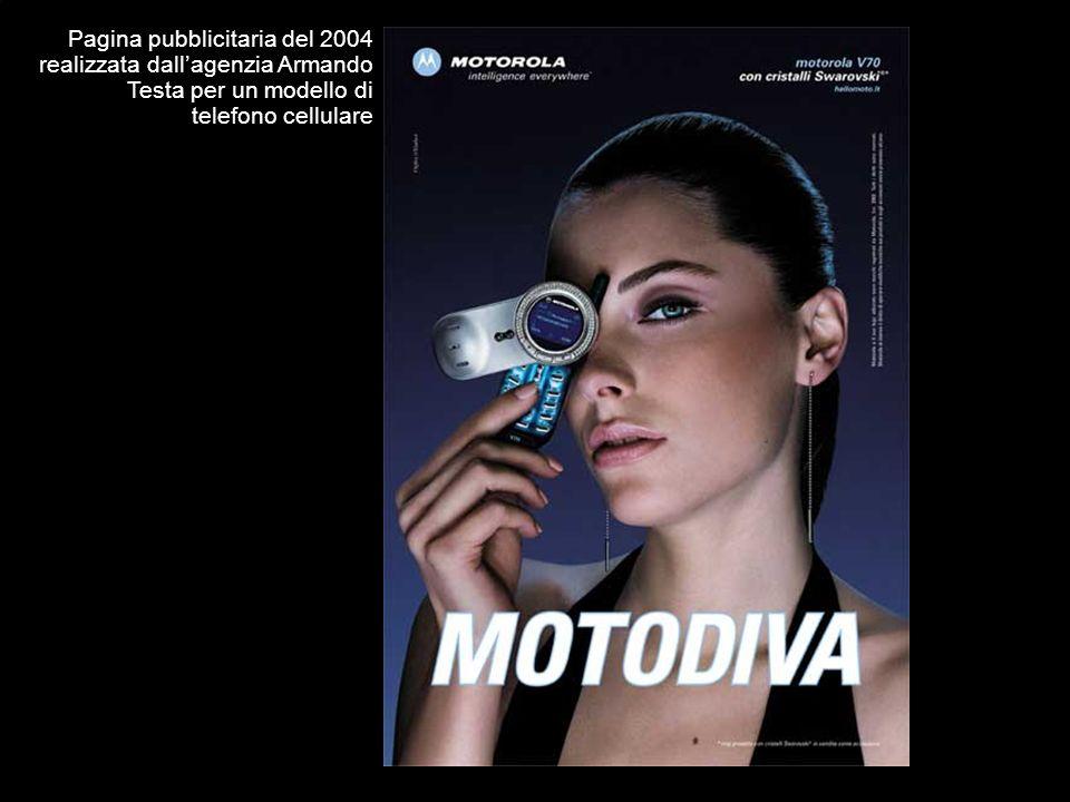Pagina pubblicitaria del 2004 realizzata dallagenzia Armando Testa per un modello di telefono cellulare