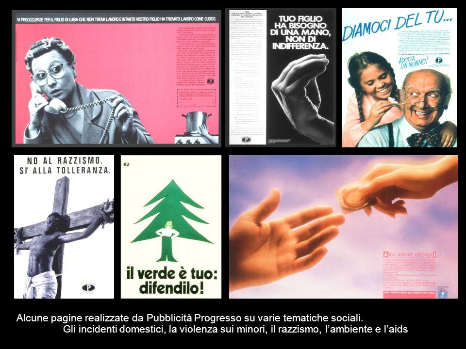 Alcune pagine realizzate da Pubblicità Progresso su varie tematiche sociali.