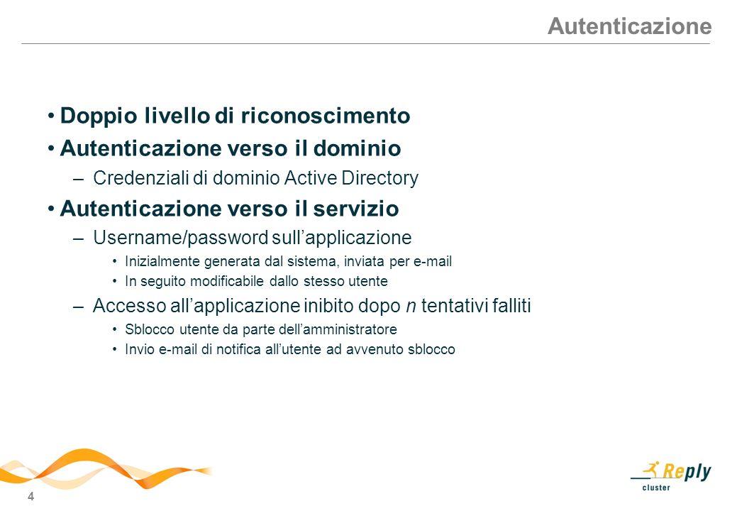 4 Autenticazione Doppio livello di riconoscimento Autenticazione verso il dominio –Credenziali di dominio Active Directory Autenticazione verso il ser