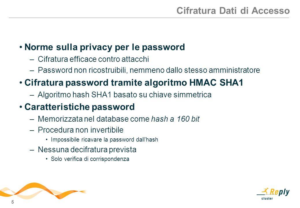 5 Cifratura Dati di Accesso Norme sulla privacy per le password –Cifratura efficace contro attacchi –Password non ricostruibili, nemmeno dallo stesso amministratore Cifratura password tramite algoritmo HMAC SHA1 –Algoritmo hash SHA1 basato su chiave simmetrica Caratteristiche password –Memorizzata nel database come hash a 160 bit –Procedura non invertibile Impossibile ricavare la password dallhash –Nessuna decifratura prevista Solo verifica di corrispondenza