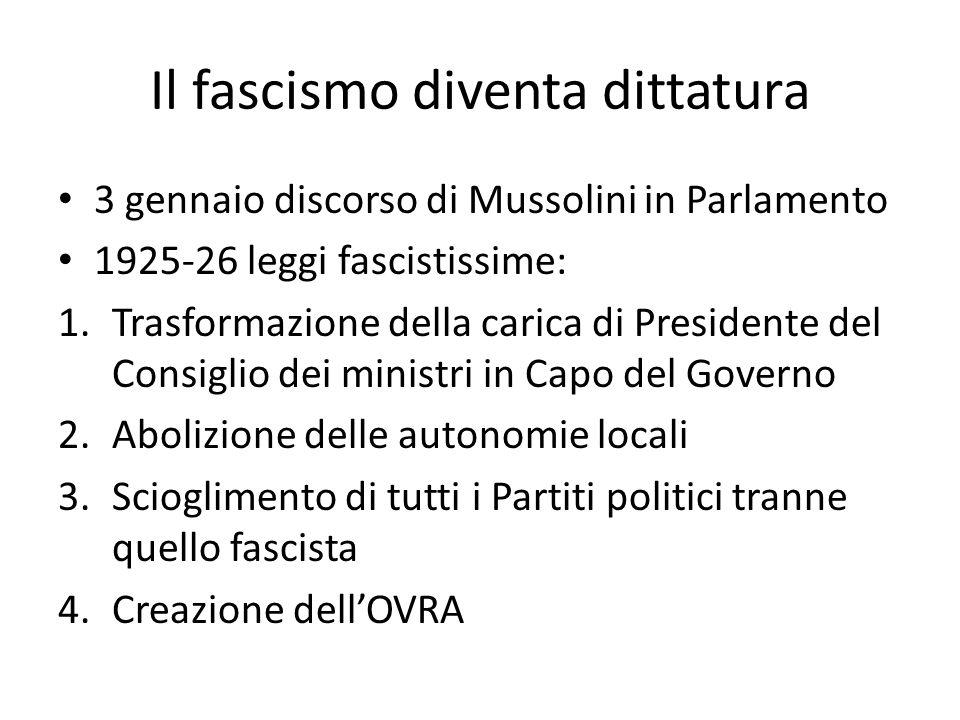 Il fascismo diventa dittatura 3 gennaio discorso di Mussolini in Parlamento 1925-26 leggi fascistissime: 1.Trasformazione della carica di Presidente d
