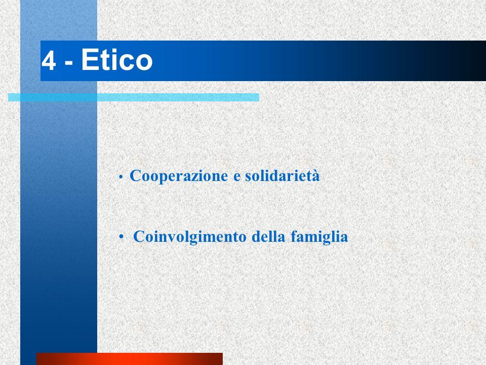 4 - Etico Cooperazione e solidarietà Coinvolgimento della famiglia