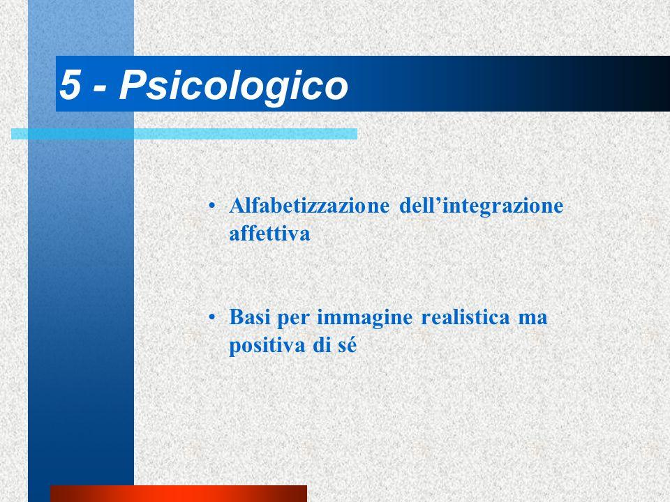 5 - Psicologico Alfabetizzazione dellintegrazione affettiva Basi per immagine realistica ma positiva di sé