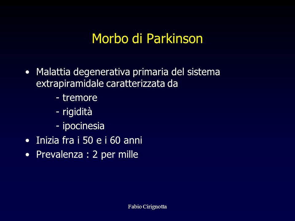 Fabio Cirignotta Morbo di Parkinson Malattia degenerativa primaria del sistema extrapiramidale caratterizzata da - tremore - rigidità - ipocinesia Ini