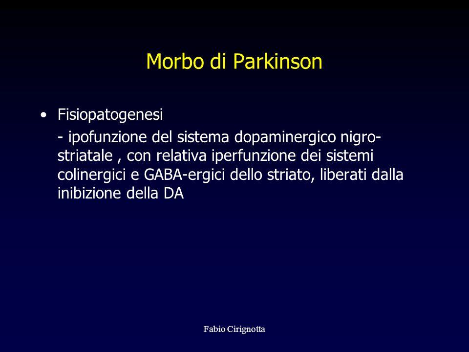 Fabio Cirignotta Morbo di Parkinson Fisiopatogenesi - ipofunzione del sistema dopaminergico nigro- striatale, con relativa iperfunzione dei sistemi co