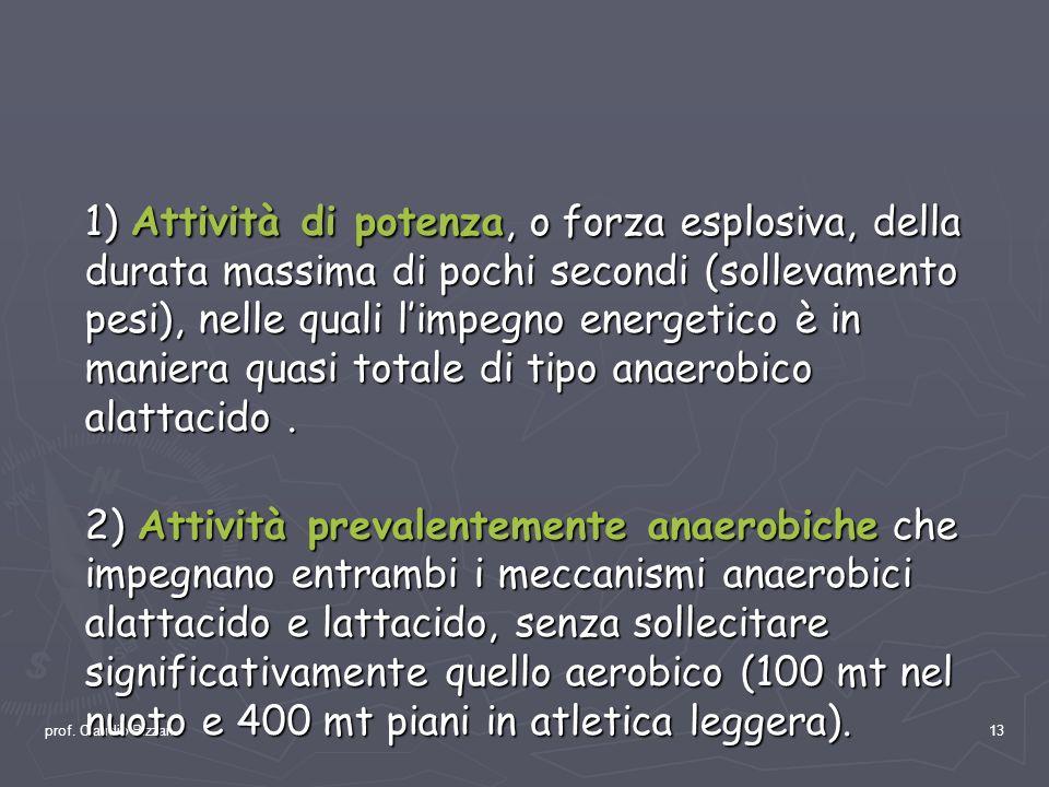 prof. Claudio Bizzari13 1) Attività di potenza, o forza esplosiva, della durata massima di pochi secondi (sollevamento pesi), nelle quali limpegno ene