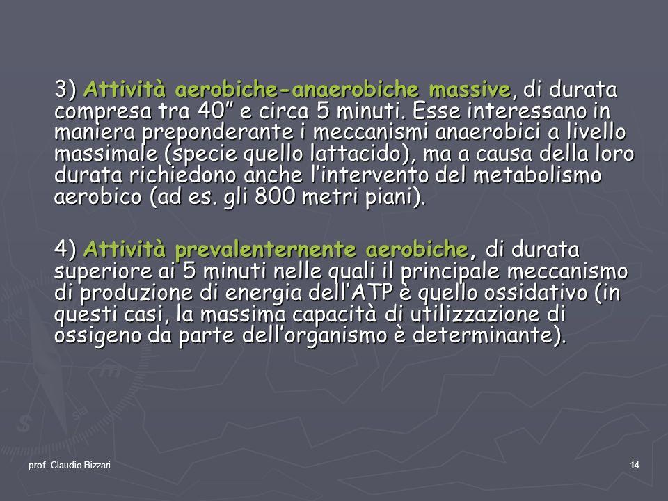 prof. Claudio Bizzari14 3) Attività aerobiche-anaerobiche massive, di durata compresa tra 40 e circa 5 minuti. Esse interessano in maniera preponderan