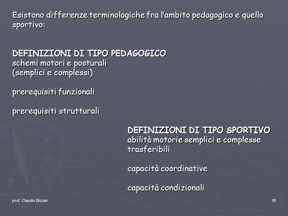 prof. Claudio Bizzari18 Esistono differenze terminologiche fra lambito pedagogico e quello sportivo: DEFINIZIONI DI TIPO PEDAGOGICO schemi motori e po