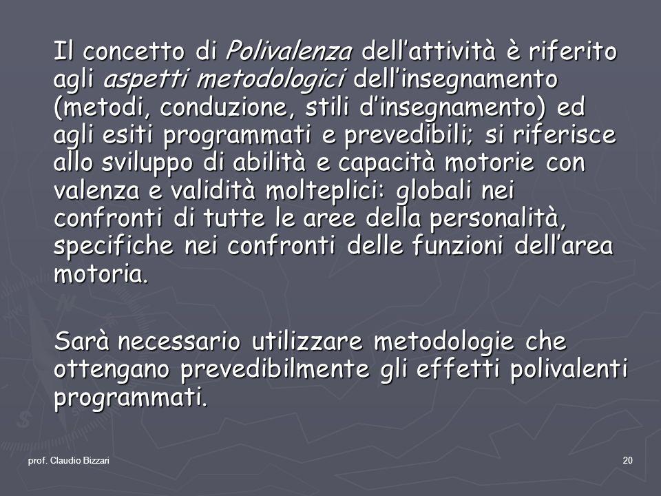 prof. Claudio Bizzari20 Il concetto di Polivalenza dellattività è riferito agli aspetti metodologici dellinsegnamento (metodi, conduzione, stili dinse