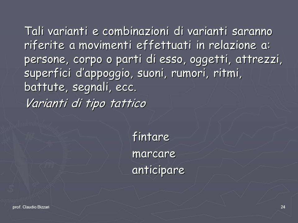 prof. Claudio Bizzari24 Tali varianti e combinazioni di varianti saranno riferite a movimenti effettuati in relazione a: persone, corpo o parti di ess