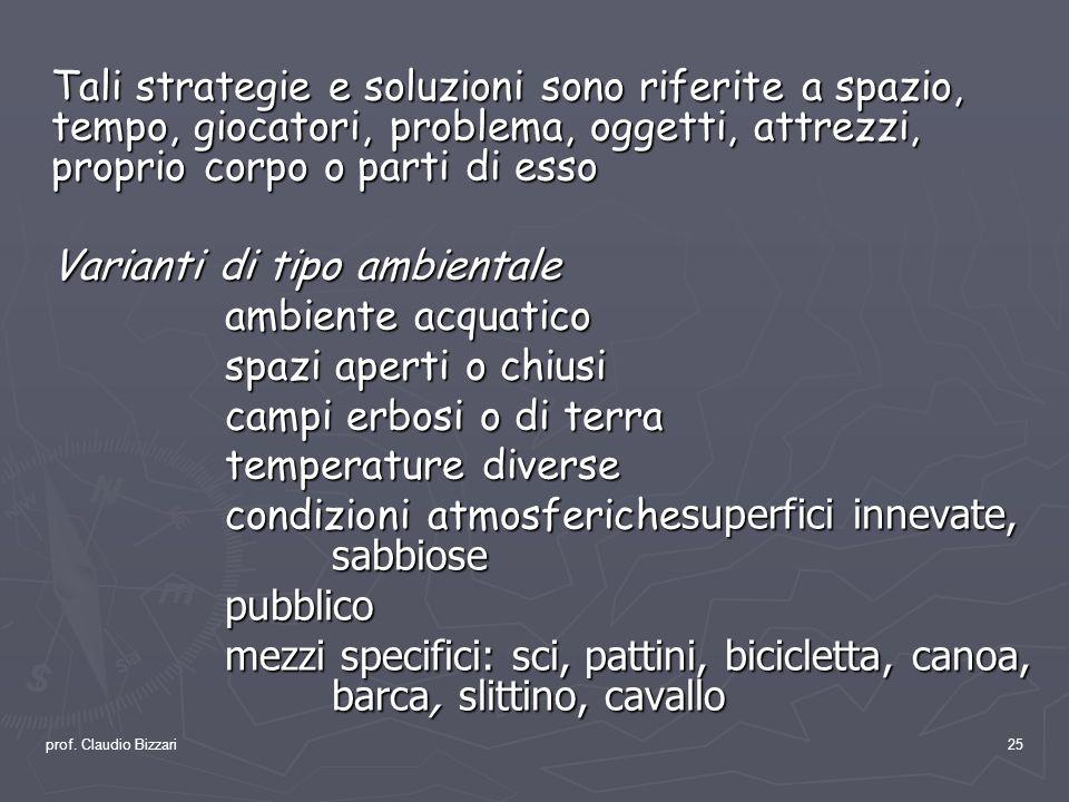 prof. Claudio Bizzari25 Tali strategie e soluzioni sono riferite a spazio, tempo, giocatori, problema, oggetti, attrezzi, proprio corpo o parti di ess