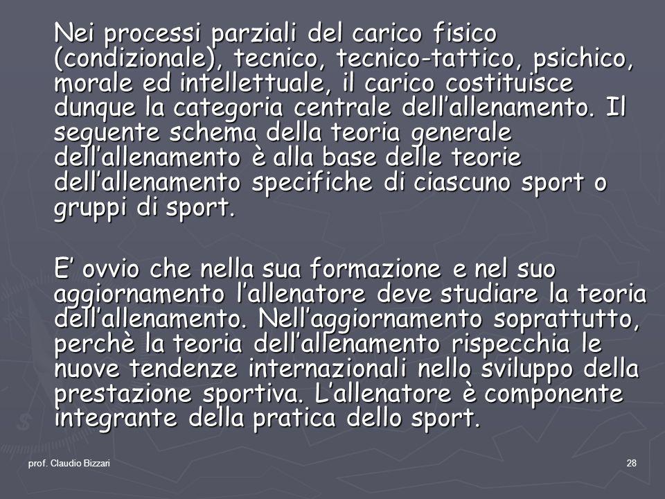 prof. Claudio Bizzari28 Nei processi parziali del carico fisico (condizionale), tecnico, tecnico-tattico, psichico, morale ed intellettuale, il carico