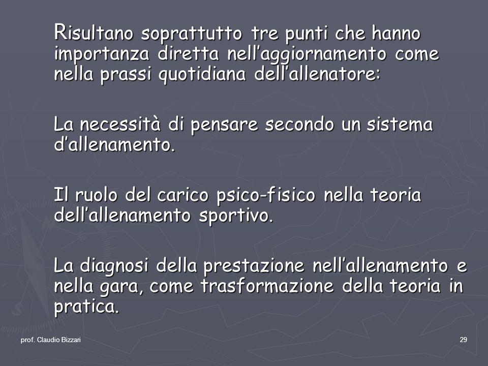prof. Claudio Bizzari29 R isultano soprattutto tre punti che hanno importanza diretta nellaggiornamento come nella prassi quotidiana dellallenatore: L