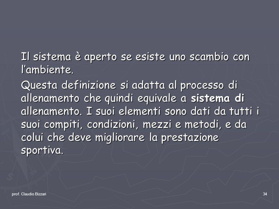 prof. Claudio Bizzari34 Il sistema è aperto se esiste uno scambio con lambiente. Questa definizione si adatta al processo di allenamento che quindi eq