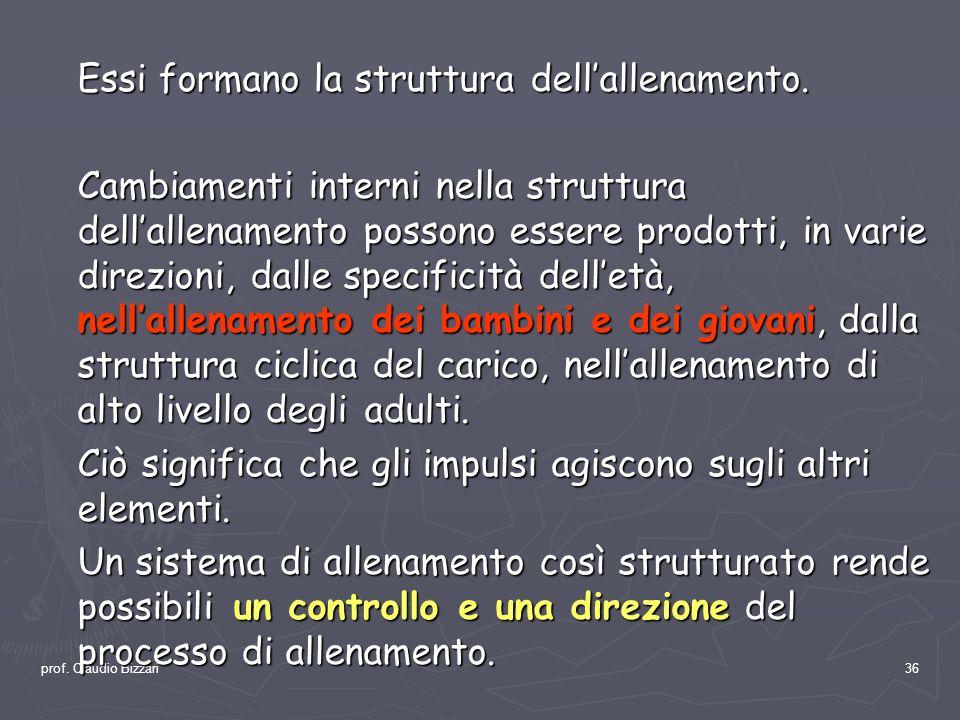 prof. Claudio Bizzari36 Essi formano la struttura dellallenamento. Cambiamenti interni nella struttura dellallenamento possono essere prodotti, in var