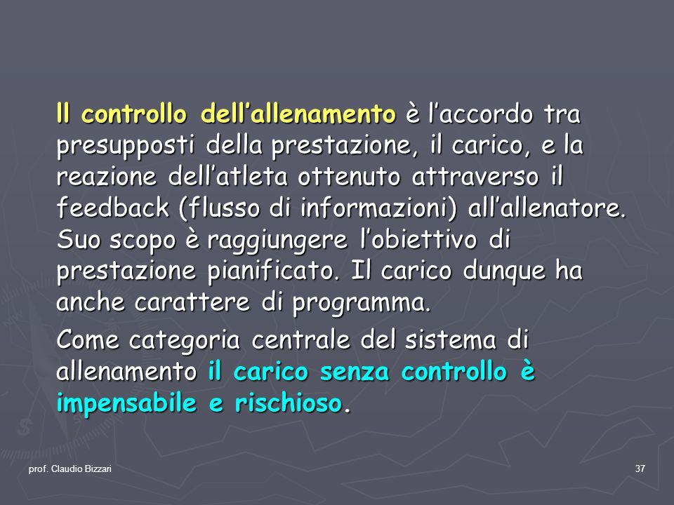 prof. Claudio Bizzari37 ll controllo dellallenamento è laccordo tra presupposti della prestazione, il carico, e la reazione dellatleta ottenuto attrav