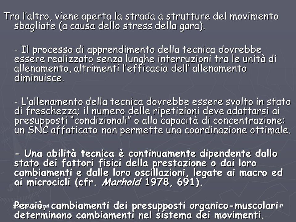 prof. Claudio Bizzari47 Tra laltro, viene aperta la strada a strutture del movimento sbagliate (a causa dello stress della gara). - Il processo di app