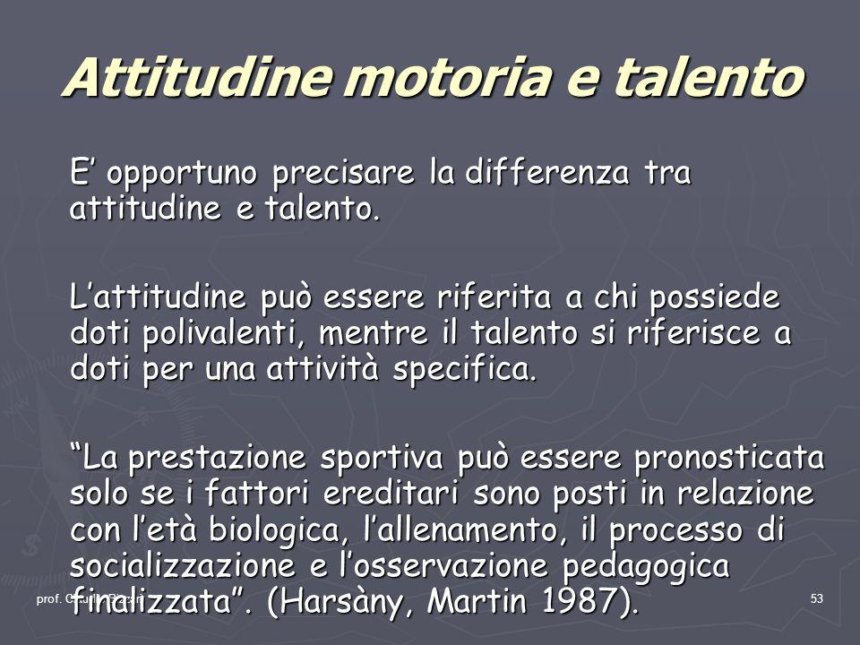 prof. Claudio Bizzari53 Attitudine motoria e talento E opportuno precisare la differenza tra attitudine e talento. Lattitudine può essere riferita a c