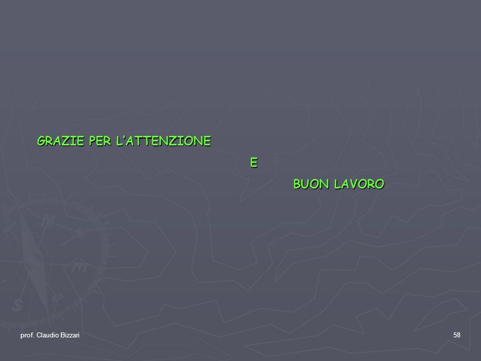 prof. Claudio Bizzari58 GRAZIE PER LATTENZIONE E BUON LAVORO BUON LAVORO