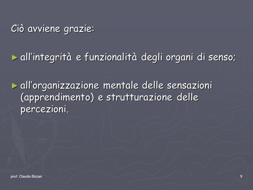 prof. Claudio Bizzari9 Ciò avviene grazie: allintegrità e funzionalità degli organi di senso; allintegrità e funzionalità degli organi di senso; allor